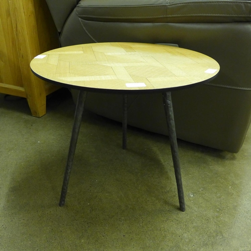 1361 - A circular steel and parquetry lamp table...