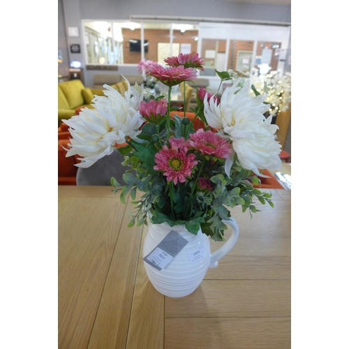 1404 - Chrystanthemums and gerbera in a white ribbed jug (50142114)   #...