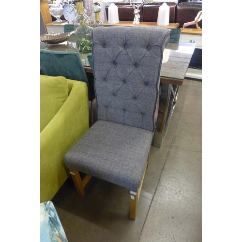 1410 - A grey Harris tweed side chair...