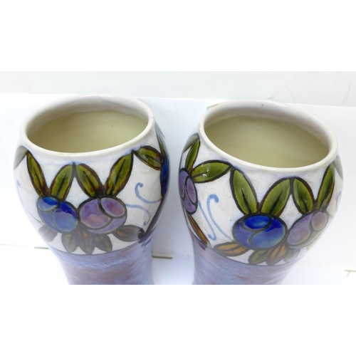 611 - A pair of Royal Doulton Art Deco vases, designed by Maud Bowden, impressed marks, 22cm
