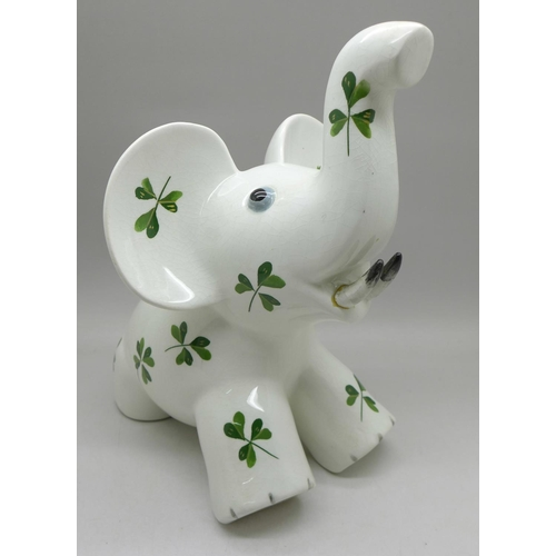 614 - A Plichta/Wemyss elephant with shamrock decoration, a/f (one tusk and hairline on back leg)