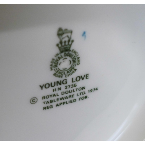 622 - Three Royal Doulton figures, Young Love, Samantha and Nancy, Nancy a/f (hairline at base)