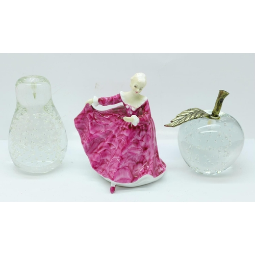 638 - A Royal Doulton figure, Kirsty, a glass apple and pear...