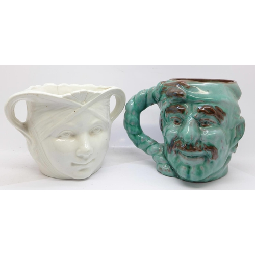 645 - An Art Nouveau planter, a/f and a Guernsey Pottery mug, incised mark to base...
