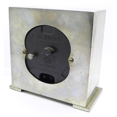 651 - A Temco Electric Art Deco clock made by Telephone Mfg. Co....