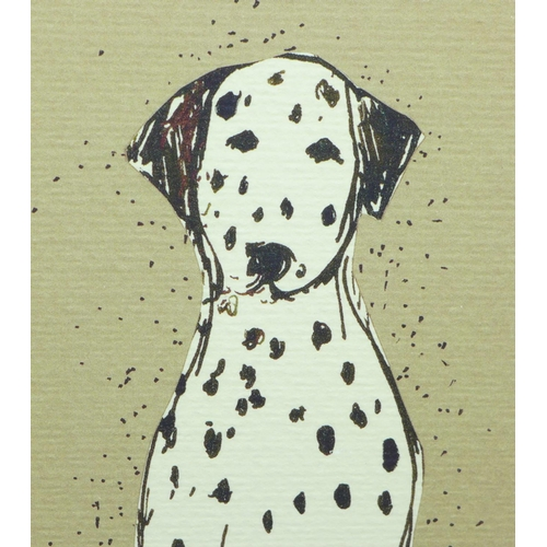 654 - A pen and ink drawing of a dalmatian, signed (Clare) Ormerod