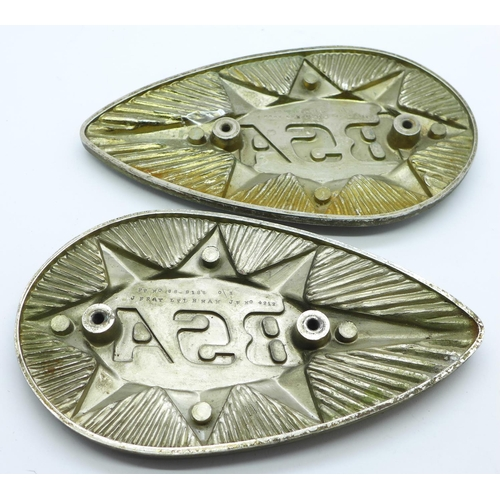 655 - Two BSA motorcycle petrol tank plaques