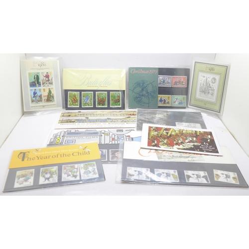 662 - Nine commemorative mint stamps