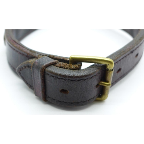 666 - A 19th Century leather and brass dog collar...