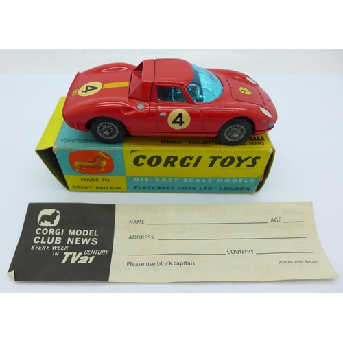 814 - A Corgi Toys 312 Ferrari Berlinetta 250 Le Mans, boxed...