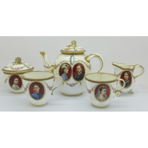 816 - A Victorian T. Goode & Co. tea for two porcelain teaset, each has oval panels with hand painted port...