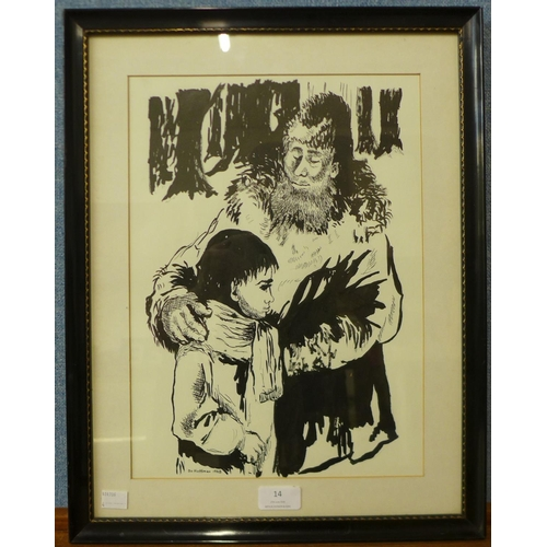 14 - Bo Hoffman, portrait of man and boy, pen and ink, 36 x 26cms, framed...