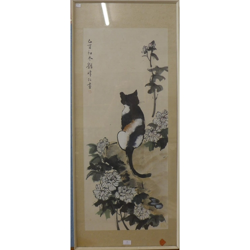 16 - Chinese School, cat amongst flowers, watercolour on silk, 96 x 40cms, framed...