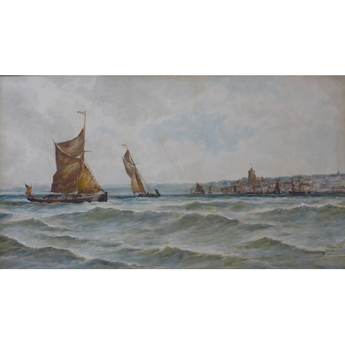 18 - Attributed to Thomas Bush Hardy (1842-1897), Shipping Off The Coast, Yarmouth, watercolour, 61 x 109...