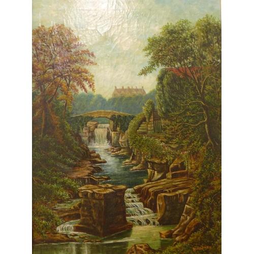 21 - R. Blower, Stepping Stones and Jesmond Dene, oil on canvas, 60 x 44cms, framed...