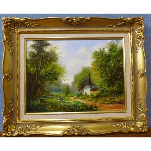 22 - Peter Snell, landscape with a cottage and figures, oil on canvas, 29 x 40cms, framed...