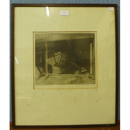 23 - S. Harold, H. Holden, The Boatbuilder, etching, 25 x 28cms, framed...