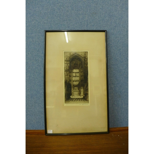 24 - Five signed etchings, Boothan Bar, York by Edward Fletcher,  The Rose Window, York by Chas. A. Banks...