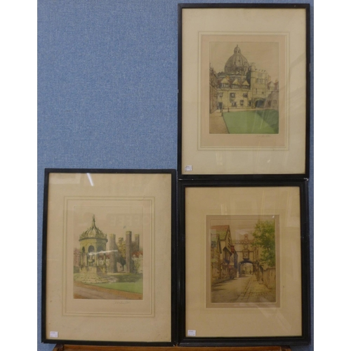 25 - Three Henry G. Walker coloured etchings and another pair, indistinctly signed, framed...