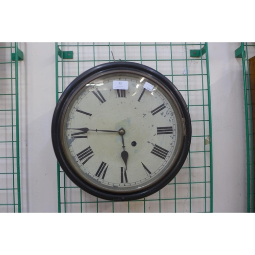 33 - A 19th Century beech circular wall clock...