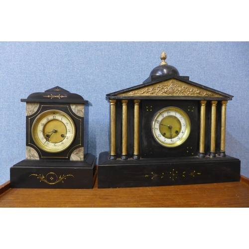 36 - Two 19th Century French Belge noir mantel clocks, a/f...