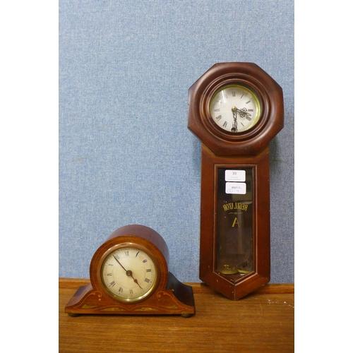 39 - A walnut Regulator A wall clock and a walnut timepiece...