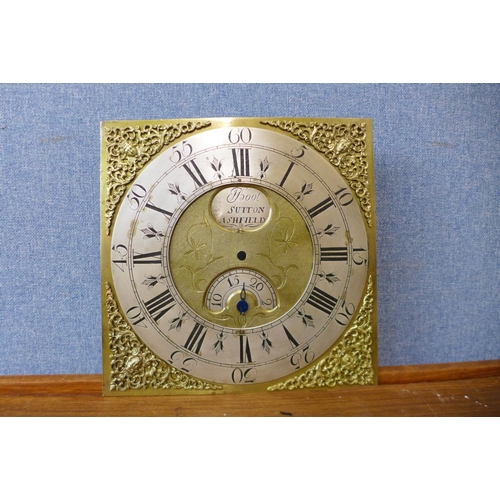 42 - An 18th Century brass longcase clock dial, signed Boot, Sutton Ashfield...