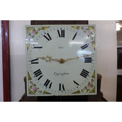 43 - A 19th Century oak 30-hour longcase clock, the painted dial signed Aris, Uppingham...
