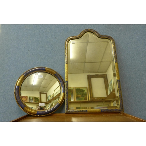 47 - Two cobalt blue and parcel gilt framed mirrors...