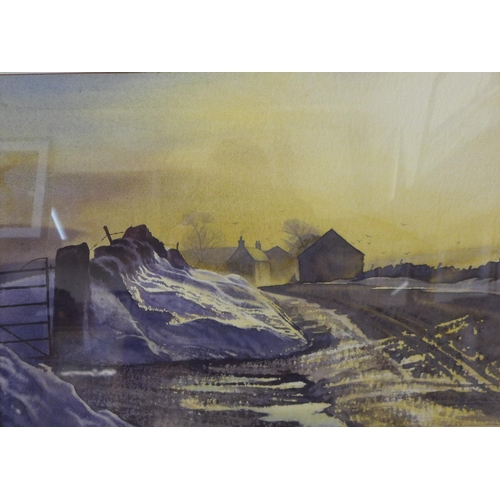 5 - Wilfred Ball, winter landscape, watercolour, 36 x 51cms, framed...