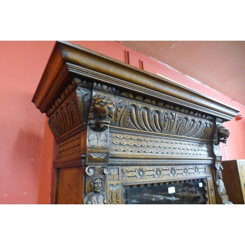 68 - A 19th Century French carved oak bookcase...