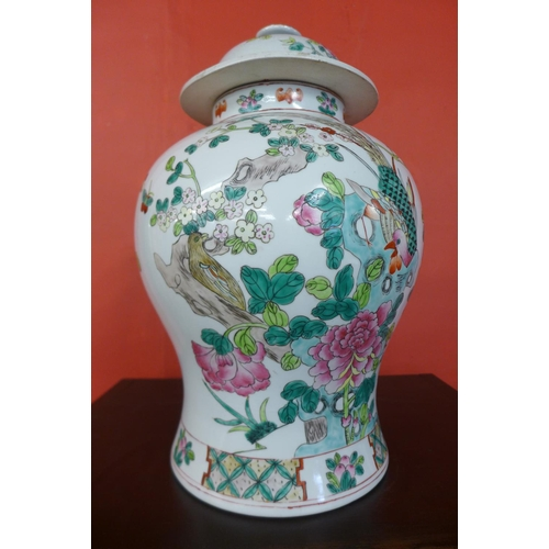 78 - A Chinese famille vert porcelain ginger jar and cover...