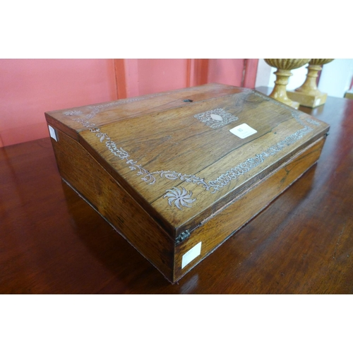 80 - A Victorian rosewood and mother of pearl inlaid writing slope...