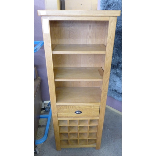 1415 - An oak bookcase with wine rack - PGBCW-O - display...