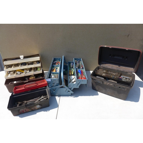2002 - 4 Toolboxes with assorted tools - one metal Cantiveler, 3 plastic...