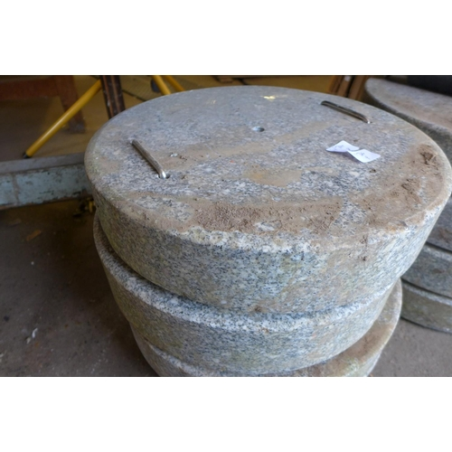 2011 - 2 Granite parasol bases with 1 stand *This lot is subject to vat...