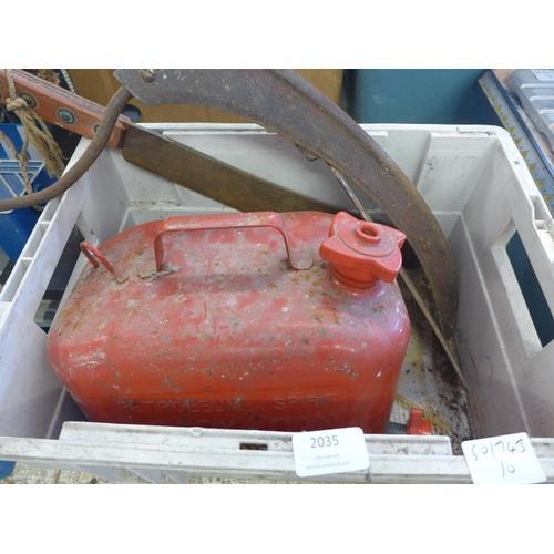 2035 - Red metal petrol can, billhook, machete, slasher
