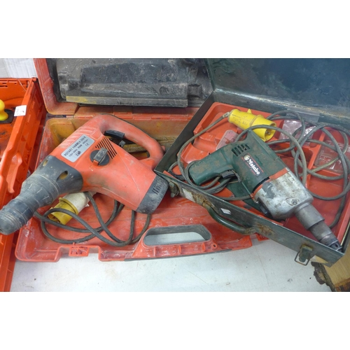2045 - 110v Rotary hammer drill in Hilti case, a/f and Metabo 110v drill in case, a/f...