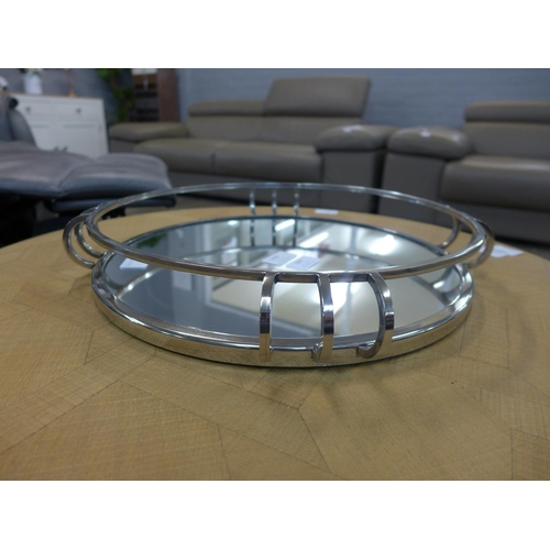1307 - A circular chrome mirrored tray (GW207218)   #...
