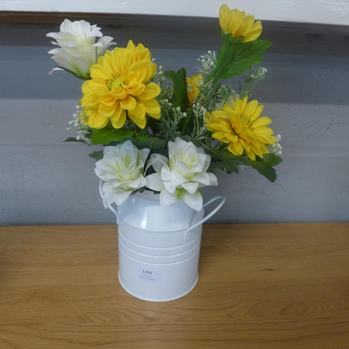 1338 - Mixed flowers in a white enamel churn (5052707)   #...