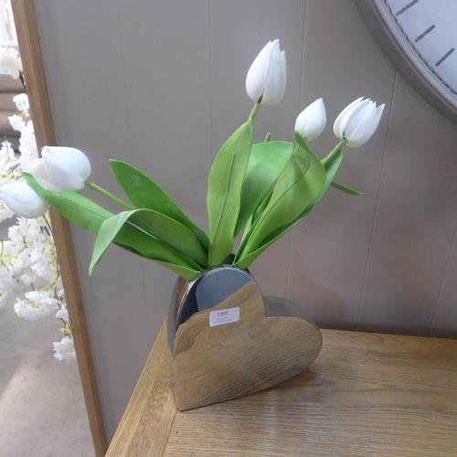1369 - A chrome heart vase (HVM19)   #...