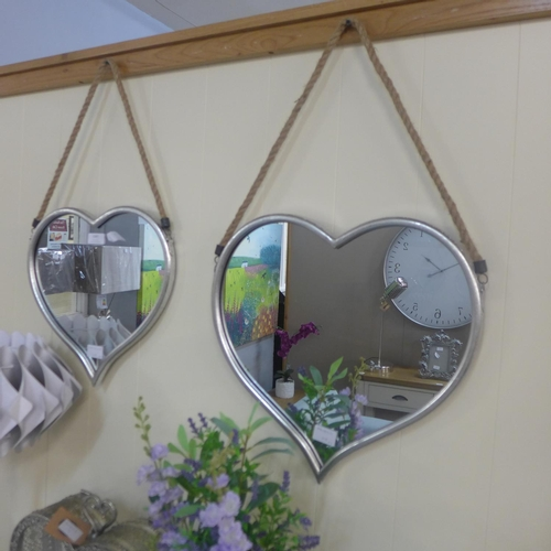 1387 - A set of two heart mirrors with rope hangers (1838915)   #...