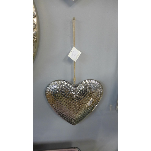 1455 - A hammered effect hanging silver heart (2064008)   #...