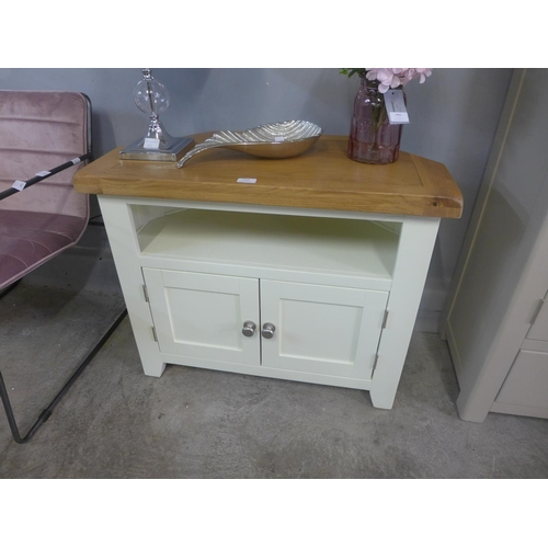 1458 - Hampshire ivory corner TV unit...