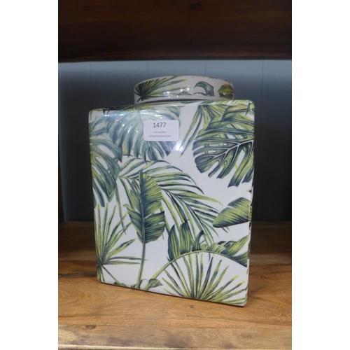 1477 - A large square tropical leaf jar (BP28717)   #...