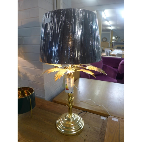 1493 - A gold finish palm tree table lamp with black shade (12430080)   #...