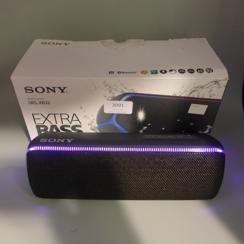 3001 - A Sony SRS-XB32 speaker *This lot is subject to VAT...