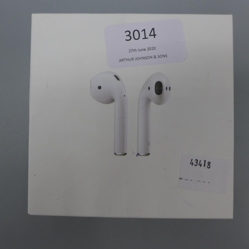 3014 - A pair of Apple Airpods With W/Less Chg Case    (361)  (Ajs 187)  Rrp £144.99 + Vat * This Lot Is Su...