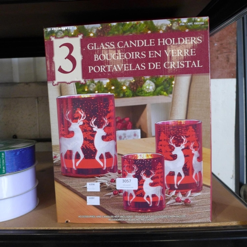 3057 - Three packs of Glass Candle Holders    (287, 288)  (Ajs 187)  Rrp £27.99 + Vat * This Lot Is Subject...