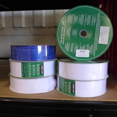 3058 - Six mixed rolls of KS Wire Ribbon    (263)         (Ajs 187)  Rrp £5.99 + Vat * This Lot Is Subject ...